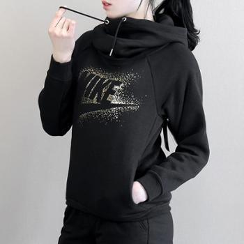 Nike耐克女上衣加绒保暖金标连帽套头卫衣874115-010-091SH