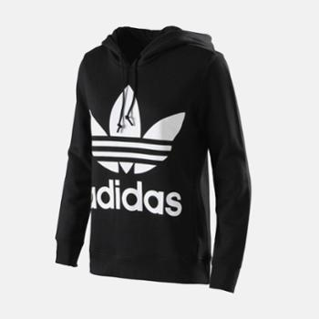 adidas阿迪达斯三叶草情侣卫衣套头衫黑CE2408CW1240