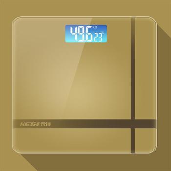 电器城 禾诗 电子称 体重秤 家用夜视精准人体体重很准可测温健康