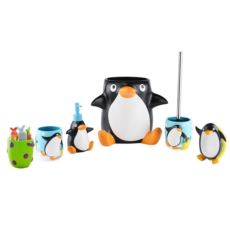 生尚家居可爱卡通小企鹅卫浴6件套装儿童浴室用品洗漱套装创意牙刷架