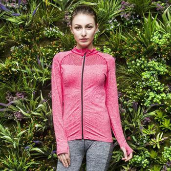 女士运动跑步健身服修身长袖手套袖夜跑外套拉链衫瑜伽服