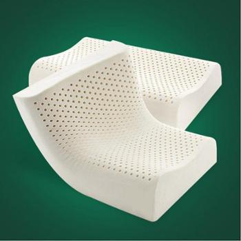 泰国天然乳胶枕 按摩护颈保健枕头 防螨透气波浪B形乳胶枕单个成人枕