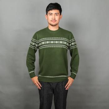 巴音孟克男式时尚圆领百搭羊绒套衫