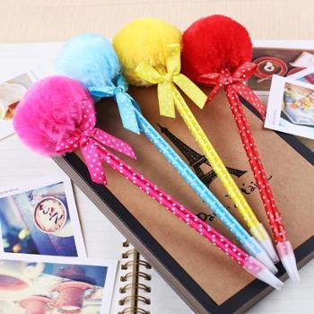 【正品特价】韩国文具6色随机发 可爱仙女毛球笔蝴蝶结毛绒球圆珠笔个性公主笔