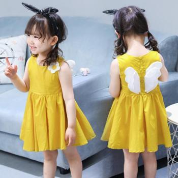 夏季全棉童装中小女童韩版无袖连衣裙儿童裙子潮