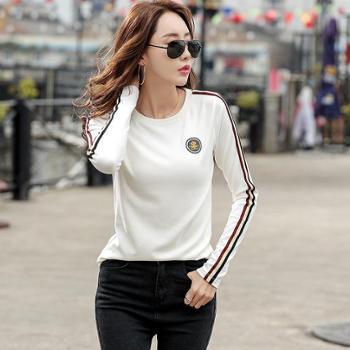 女士T恤女长袖修身显瘦韩版t恤女打底衫上衣5015