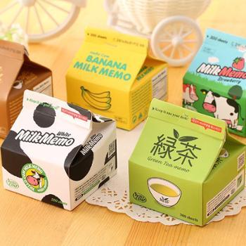 0338艺蓝牛奶盒抽取便利贴小巧便携牛奶咖啡备忘录创意便签纸