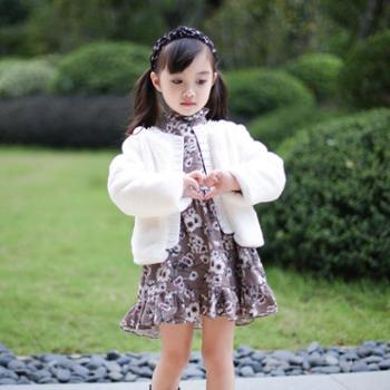 秋冬女童小香风毛毛大衣宝宝仿皮草加棉外套