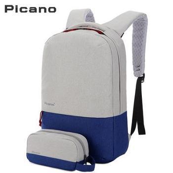 皮卡诺电脑双肩包男商务电脑背包大容量中学生书包旅行男士背包