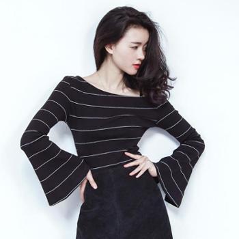 春季新款韩版女装修身显瘦条纹长袖T恤女喇叭袖一字领上衣潮