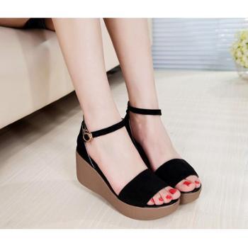 夏黑色磨砂真皮中跟韩版松糕厚底女式坡跟大码40-43码凉鞋女