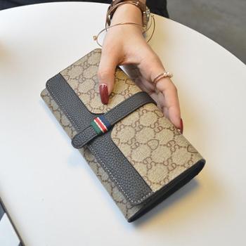 法纹欧美时尚真皮女士钱包长款大容量牛皮手机钱夹手拿包