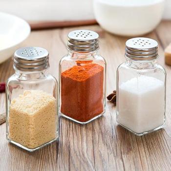 (户外烧烤调料罐生活用品)5个装厨房多用玻璃调味瓶野外烧烤密封调料瓶日式玻璃胡椒粉瓶100g