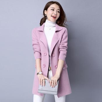 2018春装新款女装纯色韩版宽松显瘦百搭中长款针织开衫外套