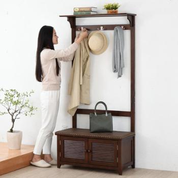 (生活用品创意衣帽架收纳柜)家逸简约坐凳实木落地衣帽架卧室客厅收纳架多功能换鞋凳子