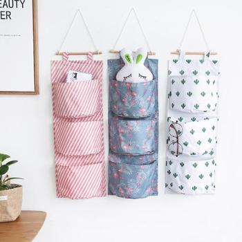 (生活用品创意挂钩)收纳袋挂袋挂兜壁挂袋悬挂式多功能布艺多层宿舍储物袋门后置物袋