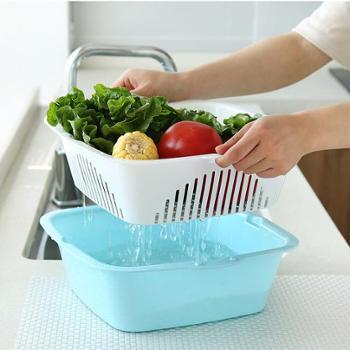(生活用品创意厨房收纳沥水架)沥水篮水果盆洗菜篮子客厅塑料创厨房意双层洗菜盆沥水盆子淘米篮