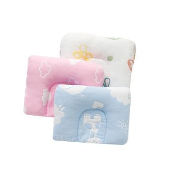 婴儿枕头0-1岁四季全棉提花纱布宝宝枕头防偏头定型枕U型枕