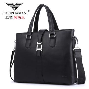 卓梵 阿玛尼正品牌男士手提包横款大容量包包商务男包 真皮牛皮