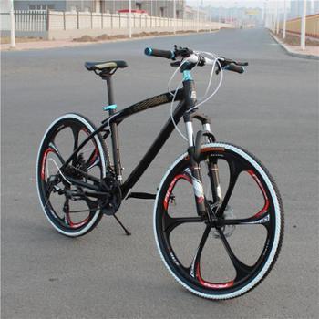 包邮正品26寸弯梁铝合金一体轮24速山地车/双减震碟刹山地自行车
