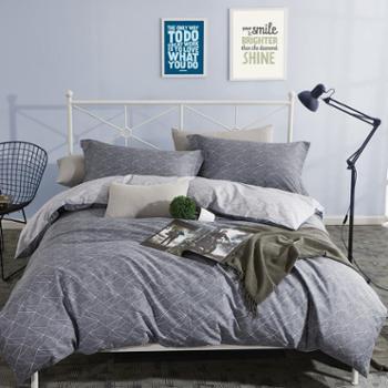 【支持电子券积分兑换】全棉四件套斜纹清新简约双人床床上用品四件套