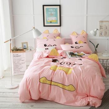 全棉四件套斜纹时尚萌宠双人床成人床上用品儿童四件套