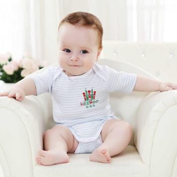 意婴堡 婴儿纯棉连体衣 宝宝短爬服夏 男女童三角哈衣条纹包屁衣