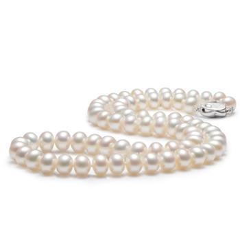 爱泊丽 淡水珍珠项链7-8mm四面光面包珠 送妈妈 女 珠宝