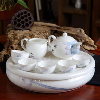 泊杜 唐山骨瓷 9头功夫茶具套装-荷花清池 带茶盘 礼品