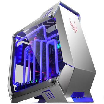 金河田开放式DIY铝合金水冷机箱全铝台式机电脑机箱(ATX/360冷排/双侧透钢化玻璃)