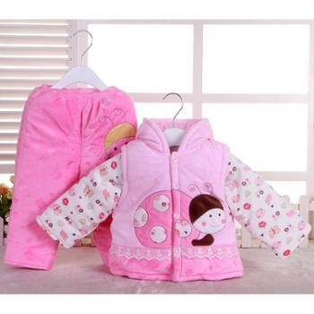 包邮秋冬加厚棉衣套装男女宝宝夹棉婴儿棉服装新生儿衣服三件套礼盒礼包