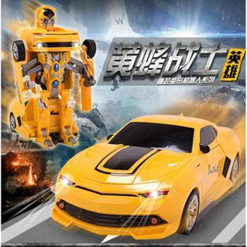 包邮遥控电动变形机器人金刚儿童汽车大黄蜂摇控车玩具可充电新年礼物