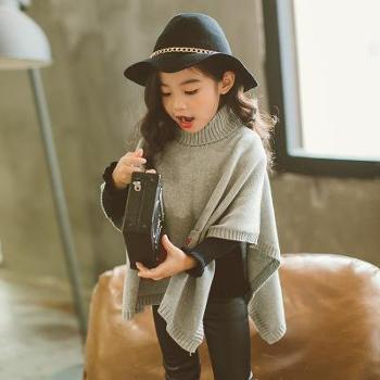 秋季新款韩版时尚中小童高领斗篷女童针织口袋毛衣