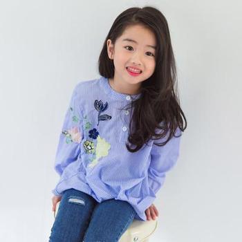 AD338韩国童装长袖衬衫18女童春季条纹绣花薄衬衫女宝宝