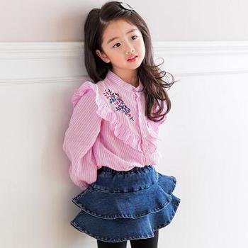 2018韩国童装春季新品*秋装女童绣花条纹衬衫儿童长袖衬衫