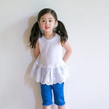 AD22夏季女童纯色中长款背心裙百搭圆领花边打底裙连衣裙