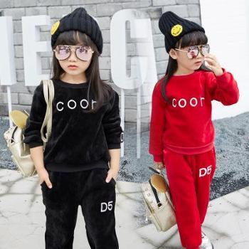 嘎尼潮冬款女童儿童字母纯色海岛绒套头加绒运动两件套装