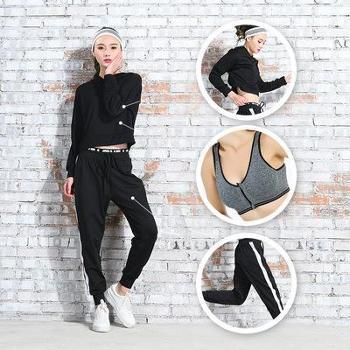2018秋冬健身服三件套小镂空运动文胸女上衣九分裤瑜伽服套装新款