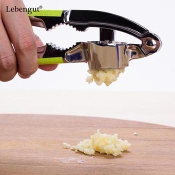创意多功能压蒜器塑料柄手动切捣挤蒜蓉蒜泥器不锈钢色捣蒜器核桃夹