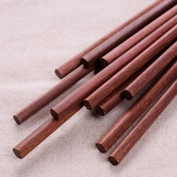 阿里山 红檀木筷子无漆无蜡中式家用防滑木质筷子 10双装