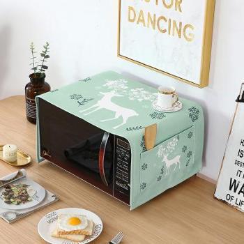 北欧加厚棉麻微波炉盖布防水防油防烫家用烤箱防尘罩