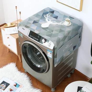加厚棉麻洗衣机罩套单开门冰箱盖布滚筒洗衣机防水防油免洗防尘罩