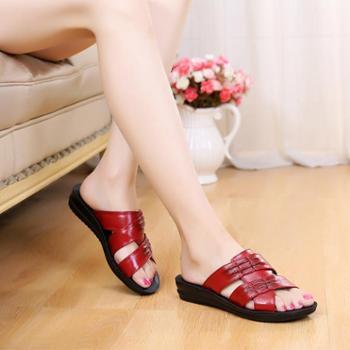 新款妈妈拖鞋软底防滑舒适耐磨凉真皮拖鞋