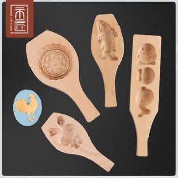 月饼模具木质绿豆点心糕点模具家用立体冰皮烘焙工具