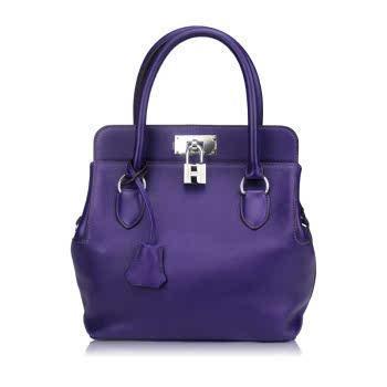 Hermes紫色牛皮手拎单肩包
