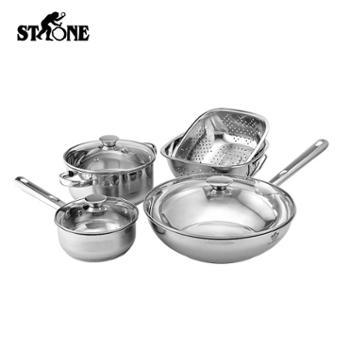 青海特惠 司顿锅具五件套 锅身:优质不锈钢;复底:不锈钢 汤锅、奶锅、炒锅、米筛*2