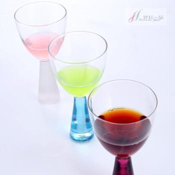 铧轩一品高脚玻璃酒杯水杯甜品杯雪糕杯炫彩萝莉杯6只装