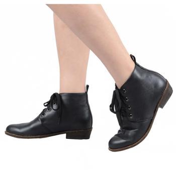 MissMerry2016秋冬新款欧美圆头层牛皮低跟短靴女真皮鞋靴马丁靴