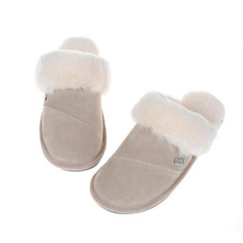 澳大利亚进口羊毛室内保暖拖鞋女款