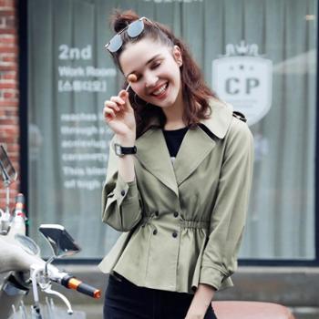 新款女装韩版收腰修身短款外套小香风荷叶边百搭风衣女